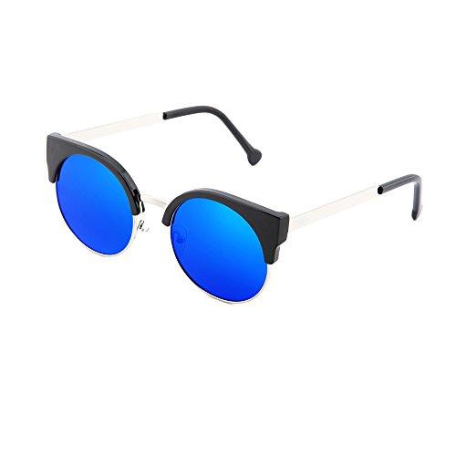 HEGEL TWIG Gafas sol redondo mujer hombre de Azul Plata espejo wU6Uxptq