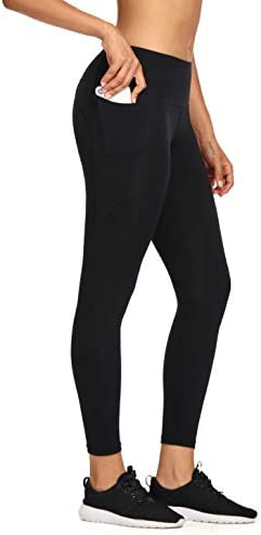 MIKGR Women High Waist Yoga Pants with Pockets Tummy Control Workout Leggings 4 Way Stretch Non See Through 3
