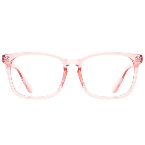 TIJN Blue Light Blocking Glasses Square Nerd Eyeglasses Frame Anti Blue Ray Computer Game Glasses (Pink)