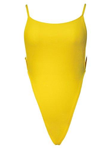 - Bslingerie Women Sexy Deep Plunge Galaxy Print One Piece Swimwear (M, Yellow (High Cut))