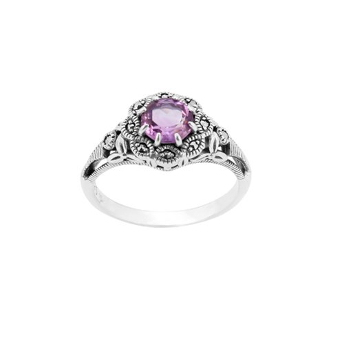 Amethyst Marcasite 925 Silver Ring - 5