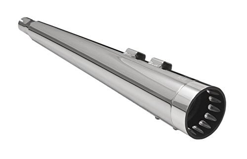 (Bassani Manufacturing 1F57DNT5 4in. DNT Megaphone Muffler with Acoustically Tuned Baffle - Chrome with Black Polished End Cap , Color: Chrome, Material: Steel)