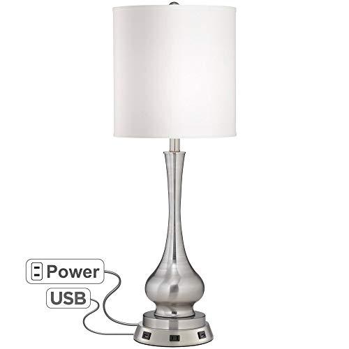 Possini Euro Sleek Gourd Table Lamp with USB Workstation Base - Possini Euro Design