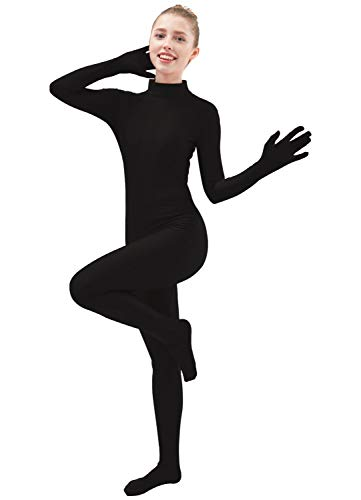 Ensnovo Womens One Piece Unitard Full Body Suit Lycra Spandex Skin Tights Black,S -