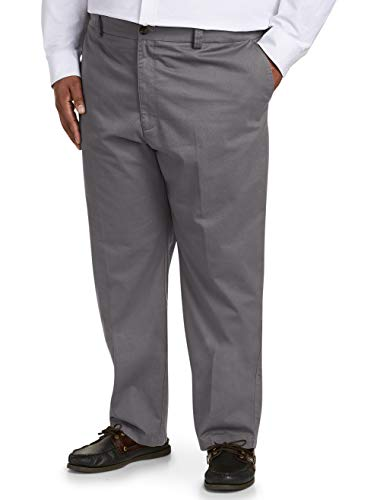 Amazon Essentials Men's Big & Tall Relaxed-fit Wrinkle-Resistant Flat-Front Chino Pant fit by DXL, Gray 46W x 28L ()