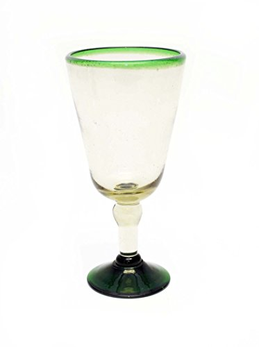 SET OF 4, GREEN RIMMED WATER GOBLETS-14 OUNCES. RECYCLED - Water Laredo