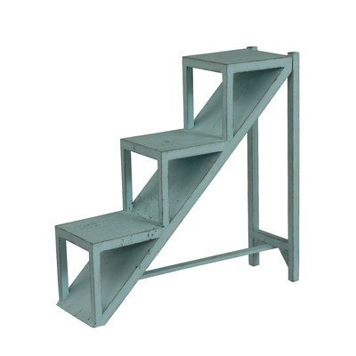 Stair Step 3- Tiers End Table Made of Hardwood Comes in Distressed Blue Finish by