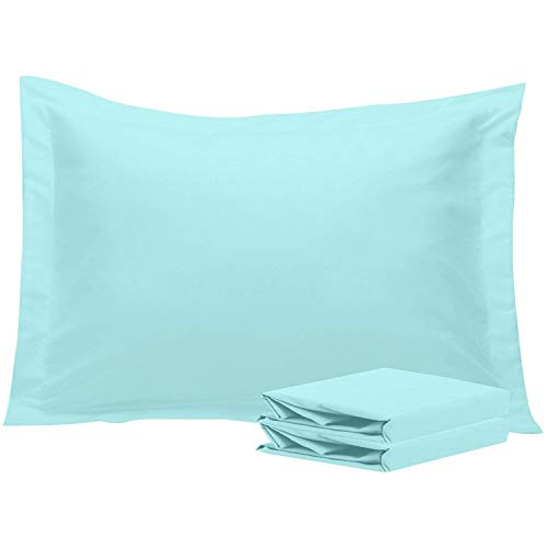 NTBAY Standard Pillow Shams, Set of 2, 100% Brushed Microfiber, Soft and Cozy, Wrinkle, Fade, Stain Resistant (Standard, Light Blue)
