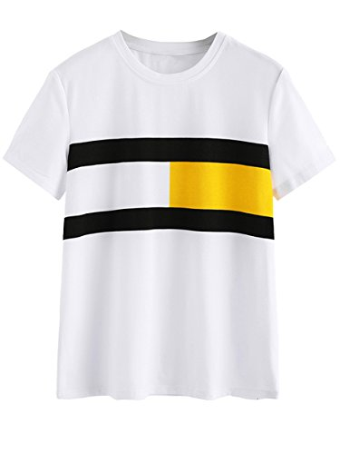 ROMWE Womens Color Block T-shirt Short Sleeve Casual Tee Shirts Tunic Tops