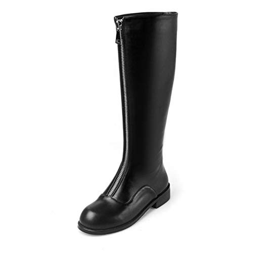T-JULY Women Knee-high Boots Cow Leather Autumn Spring Black Color Zippers Low Heel Female High Boots