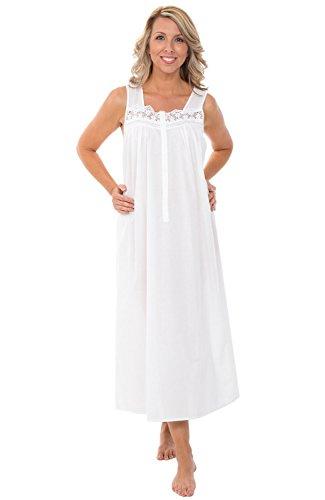 Alexander Del Rossa Womens 100% Cotton Lawn Nightgown, Sleeveless Sleep Dress