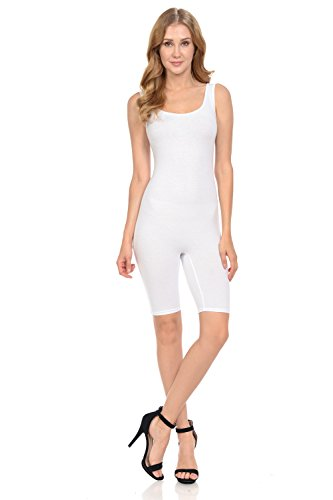 Fashion Aktiv Women Sleeveless Solid Cotton Lycra Catsuit Romper Bermuda (Medium, ()