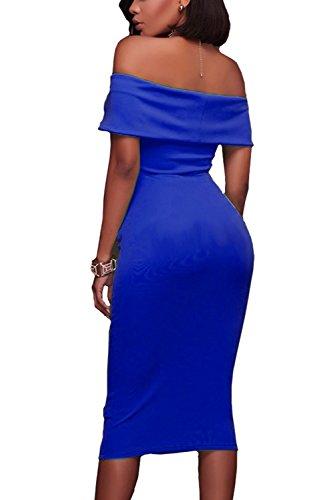 Las Mujeres Hombro Clubwear Vestido Bodycon MIDI Acanalada Sapphire