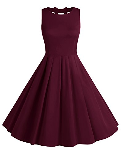 BeryLove Women's Vintage 50s Polka Dot Bowknot Retro Swing Cocktail Party Dress Burgundy Size XL