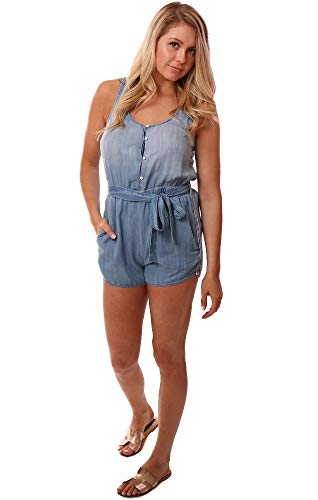 Bella Dahl Rompers Button Front Tie Waist Side Stripe Blue Tencel Jum - Blue - XS