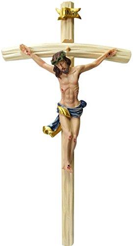 Kaltner Präsente Geschenkidee - Wandkreuz Kruzifix mit Jesus Christus Figur auf Kreuz aus Holz 50 cm von Hand bemalt