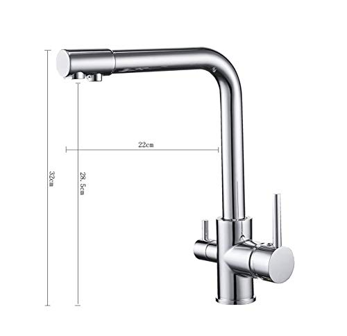 GONGFF Bathroom Sink Taps Faucet Kitchen Household Triplex Faucet Copper Pure Water Drinking Water Faucet Sink Sink Hot & Cold Mixing Faucet