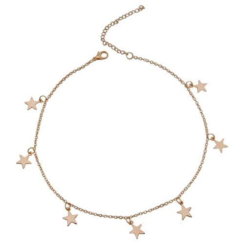 Topgee Personality Love Star Moon Diamond Geometric Clavicle Chain Pentagram Necklace Simple Retro Metal Necklace Fashion Jewelry