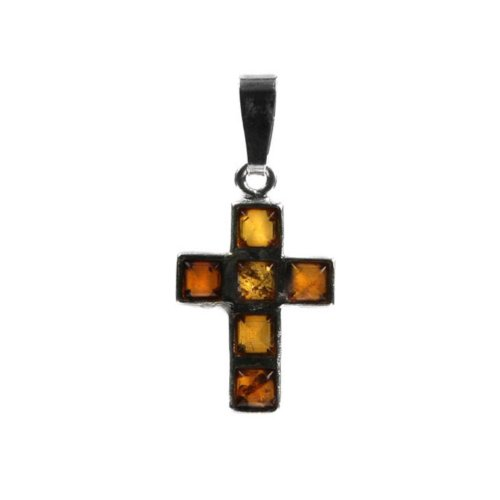 Honey Amber Sterling Silver Cross Pendant Amber Designer Cross