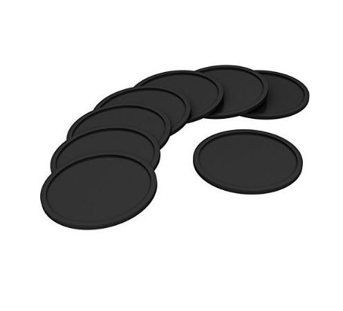 Set of 8 Silicone Drink Coasters Non-Slip Deep Tray Fit All Cup Protects Your Furniture Large 4 Inch Size , - Round Black Cup