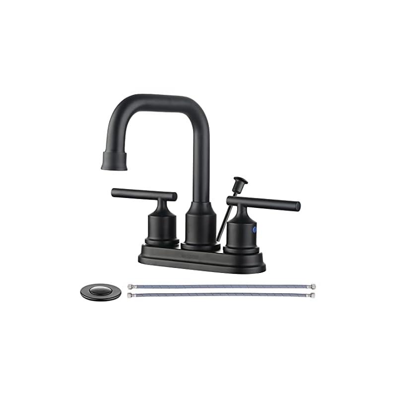 WOWOW Bathroom Faucet Black 4 inch Bathroom Sink Faucet Centerset Lift Rod Drain Stopper 2 Handle Lavatory Commercial…
