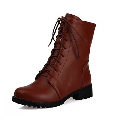 Women's Shoes PU Leatherette Fall Winter Comfort Novelty Bootie Boots Chunky Heel Round Toe Booties/Ankle Boots Lace-up For Party & red DqXHXF