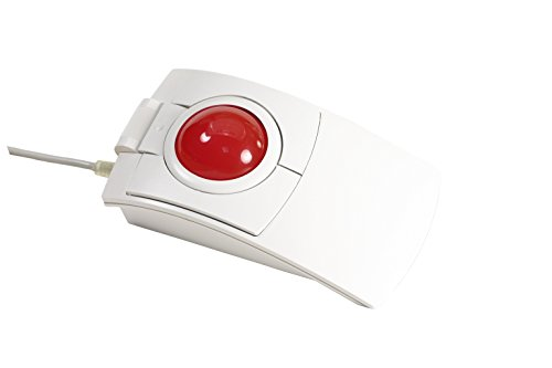 CST2445-5W(GL) (L-Trac Glow Red) USB Wired Ambidextrous High Performance Laser Ergonomic 5-Button Backlit Trackball (White) - Made in the USA by Clearly Superior Technologies, Inc.