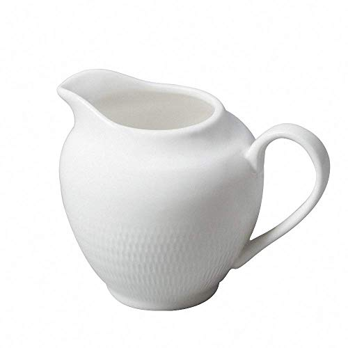 Ceramic Mesh Creamer White Coffee Milk Tea Pitcher Porcelain Honey Jug Sauce Pitcher Jug Vase Syrup Dressing Server Mug Cup Creamer with Handle for Kitchen Home Decor, 6.8 Oz