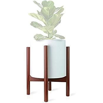 Ecbanli Bamboo Plant Stand, 10 Inch Mid Century Modern Plant Holder, Indoor Planter Stands Rustic Décor for House, Brown (Pot NOT Included)