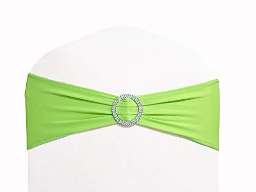 WENSINL Pack of 100 Spandex Chair Sashes Bows Elastic Chair Bands with Buckle Slider Sashes Bows for Wedding Decorations Without White Covers (Light Green) (Lime Green Sash)