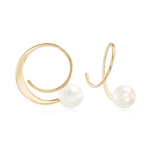 d7077efce Ross-Simons 5.5-6mm Cultured Pearl Spiral Hoop Earrings in 14kt Yellow Gold