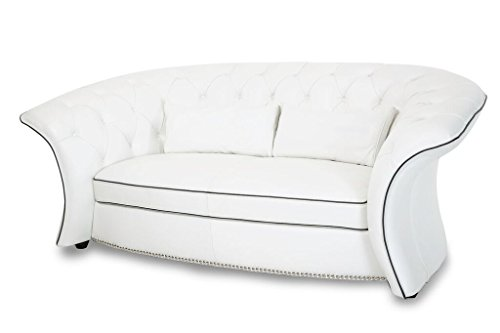 Michael Amini Molisa Leather Flare Arm Loveseat, White