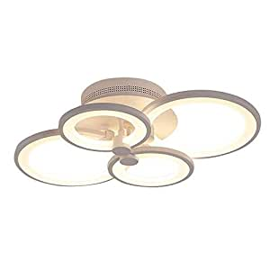 MYXMY Postmodern Four-Ring Ceiling Lamp,LED Ceiling lamp Living Room lamp Fashion Atmosphere Simple Personality Creative Bedroom Lighting Lighting Round Art Ceiling Light (Color : White Light)