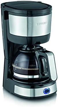 Severin KA 4808 Macchina per il Caffè, Fino a 4 Tazze, Permanente Lavabile, Filtro Oscillante, Piastra Riscaldante, 750 W, Acciaio Inox Spazzolato/Nero