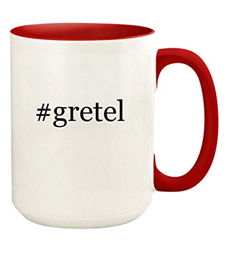 #gretel - 15oz Hashtag Ceramic Colored Handle and Inside Coffee Mug Cup, Red]()