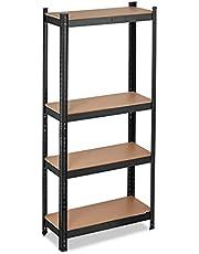 Relaxdays Rek voor zware lasten, draagvermogen 700 kg, 150x70x30 cm, 4 planken, om in te steken, staal, opbergrek kelder, garage, zwart