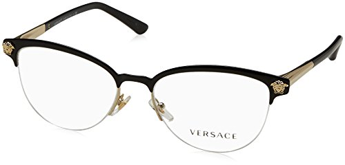 Versace VE1235 Eyeglass Frames 1371-53 - Black/pale Gold VE1235-1371-53 by Versace