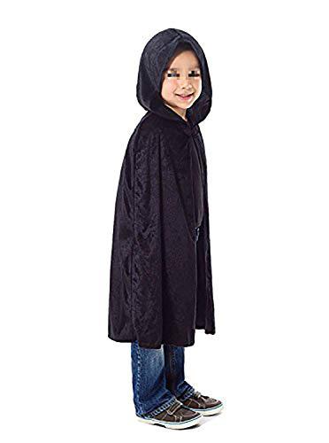 Shmily Girl Costume Crushed Velvet Hooded Cape Halloween Cosplay Cloak (Kids, Black) ()