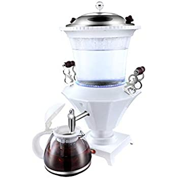 PARS COLLECTIONS SM-1832 Electric Glass Samovar Tea Maker, 14.8 x 11.9 x 11.9, White