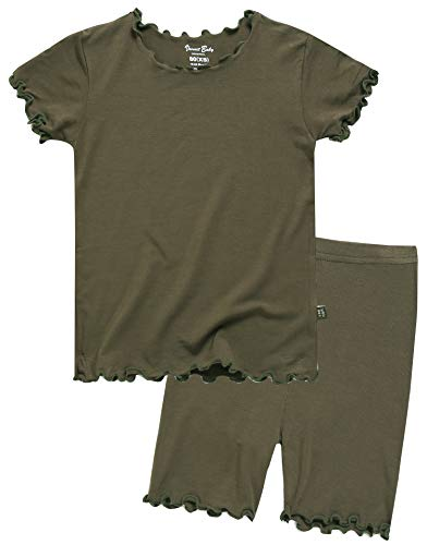Girls Short Sleeve Sleepwear Pajamas 2pcs Set Shirring Khaki S