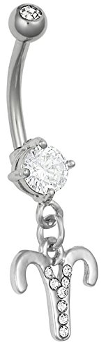 Zodiac Sign Belly Button Ring 316L Surgical Steel 14g Dangle Navel Ring - Choose Your Sign (Aries)