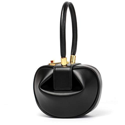 Luxurious women bag Hobos European Vintage Women Handbags Dumpling Shape Totes Top-Handle small Bags,black ()