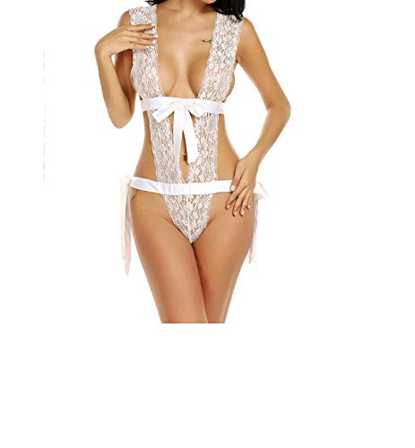 - Women Bodystocking Sexy One Piece Lingerie Deep V Neck Floral Lace Teddy Babydoll Bodysuit,White,M