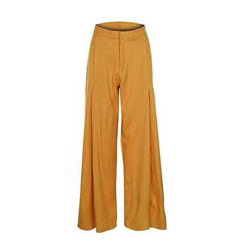 Lunga Primaverile Pantaloni Autunno Pantaloni Trousers Ragazza Gelb Donna Moda Waist Dritti Pantaloni Cerniera Eleganti Tasche Pantaloni High Abbigliamento Larghi Chic Con Giovane Moda Con Monocromo c6HqwTtY0U