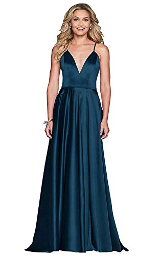 - Sophie Women's Sexy V Neck Spaghetti Strap Evening Dresses Long Satin Evening Formal Gown Ink Blue Size 20Plus