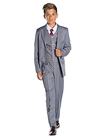 Shiny Penny, Archie Grey, Boys Regular Fit Occasion Wear, Kids Wedding Suit, Formal Prom Suit Set, 10