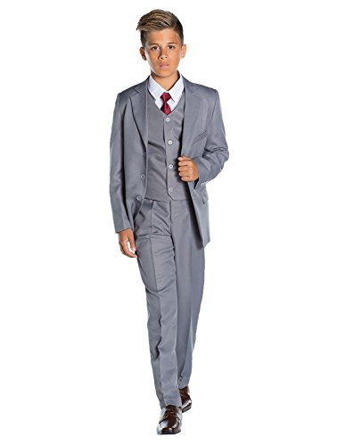 Shiny Penny Boys Formal 5 Piece Suit Set with Shirt & Vest, Boys Gray Suit, 10