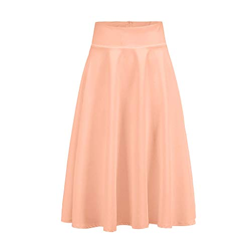 Landscap Women Solid Skirts High Waist Trumpet Midi Skirt Ladies Vintage Pleated Swing Casual Loose Skirt(Pink,XL)