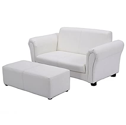 Amazon.com: White Kids Sofa With Ottoman Armrest Chair ...