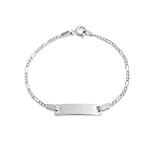 (Personalized Identification ID Bracelet Figaro Engravable Name Plate Small Wrists 6 Inch 925 Silver Custom Engraved)